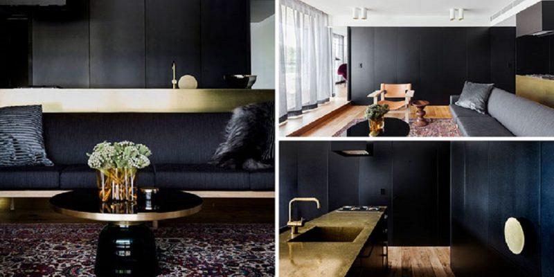 دیزاین آپارتمان با رنگ طلایی و مشکی