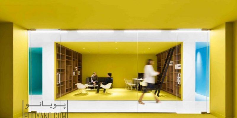 فضاهای داخلی رنگی در بازسازی دفترکار شرکت playster