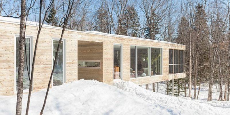 معماری و طراحی داخلی خانه طویل و کم عرض در جنگل کبک کانادا / شرکت معماری Pierre Thibault