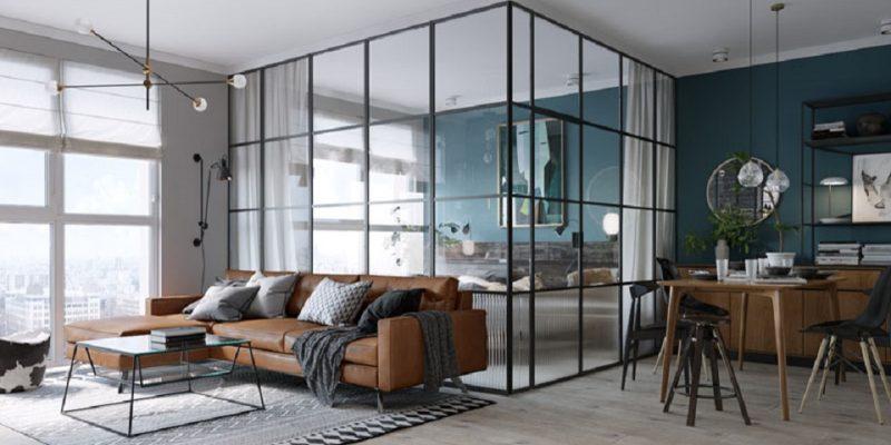 جداسازی اتاق خواب توسط دیوار شیشه ای با قاب بندی سیاه رنگ در آپارتمانی در شهر kiev