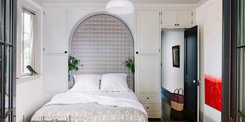 دکوراسیون اتاق خواب مستر کوچک با تکنیک های بزرگ نمایی