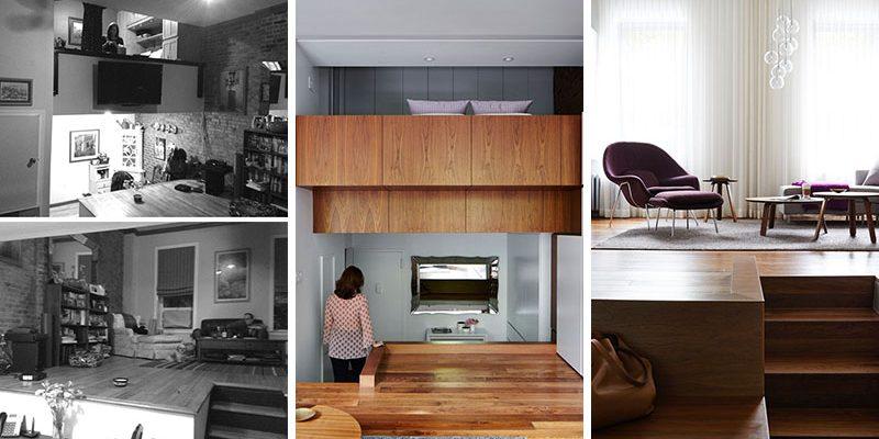 قبل و بعد بازسازی آپارتمان لافت با کمد های سفید رنگ و طرح هایی از چوب گردو