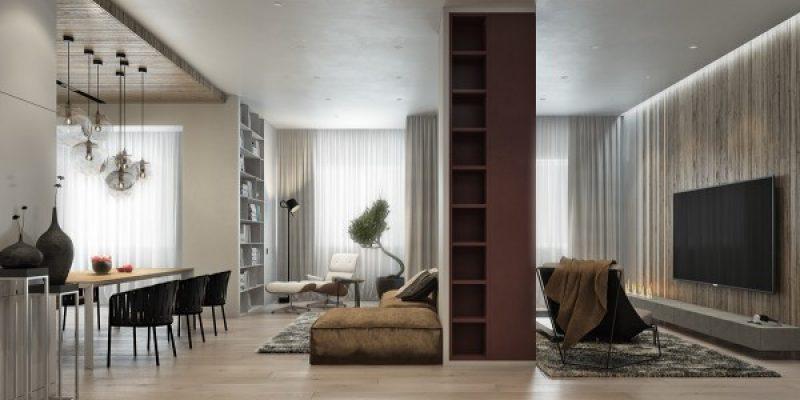 طراحی سه آپارتمان با بهره گیری گسترده از چوب در دکوراسیون داخلی