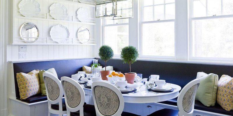 ۲۵ نشیمن نیمکتی یا Banquette کشودار برای صرفه جویی در فضای ناهارخوری آشپزخانه و اتاق نشیمن