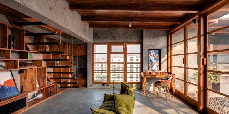 بازسازی آپارتمان پنت هاوس در هند با هدف تداعی یک ایوان سنتی
