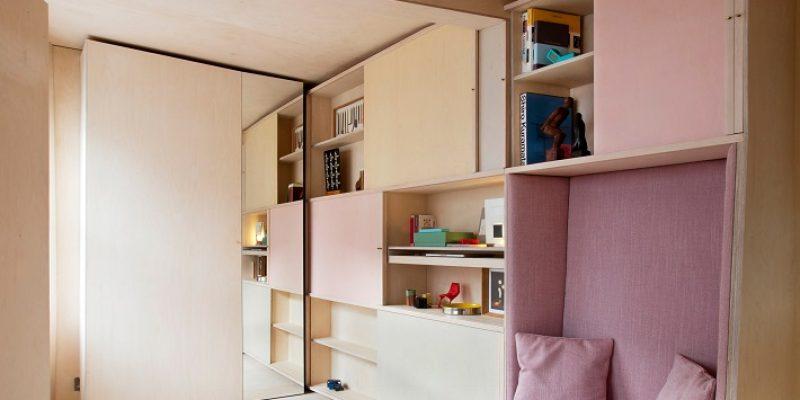 طراحی مبلمان در سوئیت ؛ مبلمان قابل تطبیق در کوچکترین خانه لندن توسط Studiomama