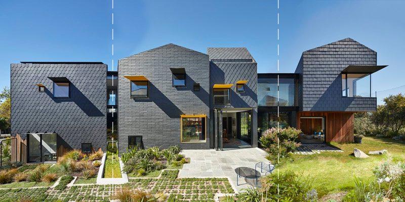 پوشش نمای ساختمان با ورقه های سنگی به رنگ خاکستری تیره، برای نمای خانه ای استرالیایی