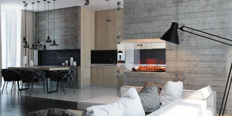 خانه های مدرن با شومینه جذاب و نورپردازی خلاقانه