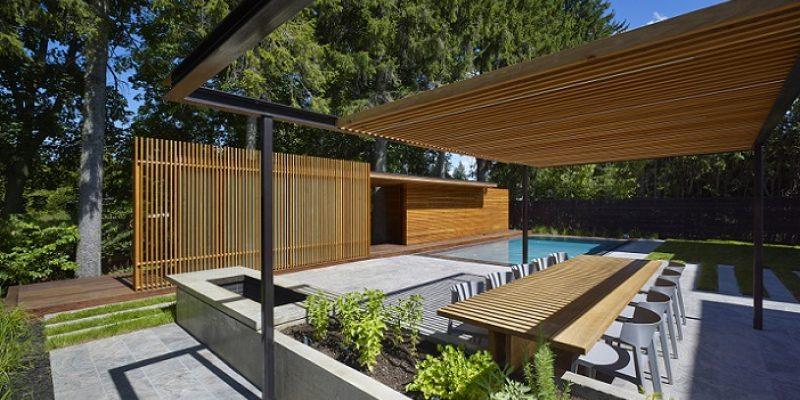 طراحی خانه چوبی با استخر خصوصی برای خانواده ای کانادایی / طراحی معماران Amantea