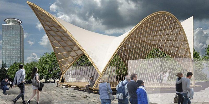 اجرای سازه بامبو در معماری پاویون هایپربولیک و نمایش انعطاف پذیری آن