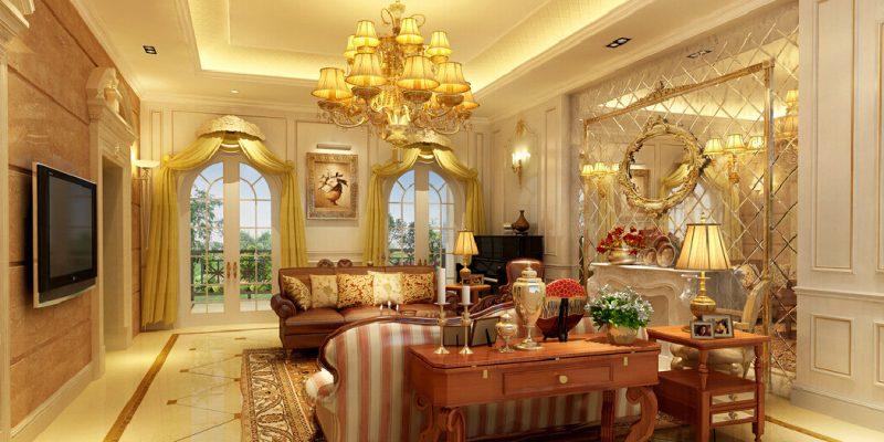 ۱۲ نمونه دکوراسیون طلایی سالن پذیرایی و نشیمن