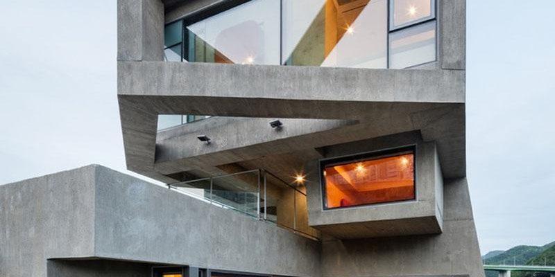 ۱۳ طراحی نمای بتنی خانه مدرن