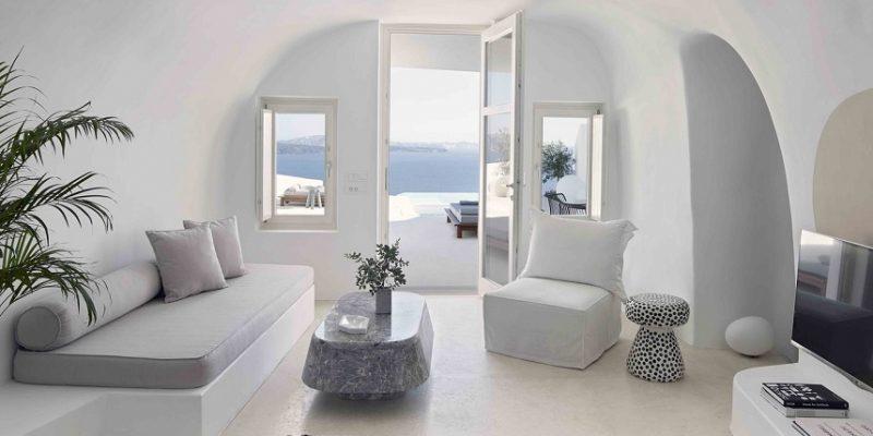 طراحی داخلی خانه غار تابستانی در سانتورینی / معماری Kapsimalis Architects