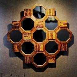 آینه دیواری چوبی اسپیدار مدل کندو