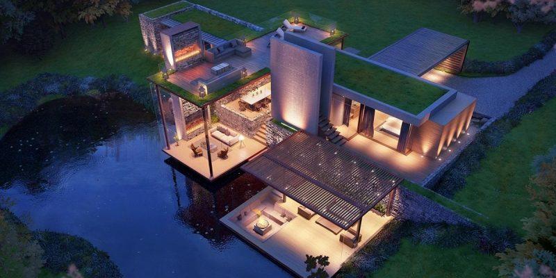 مجموعه ای از حجم بیرونی خارق العاده معماری ساختمان