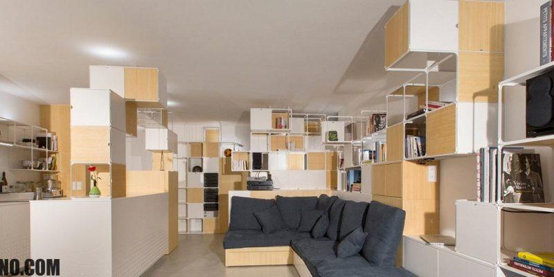 طراحی داخلی یک آپارتمان پاریسی با قاب های چند عملکردی