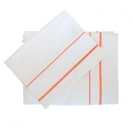 ملحفه ساده سفید با حاشیه نارنجی