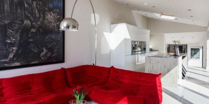مبلمان قرمز جذاب برای دکوراسیون اتاق نشیمن