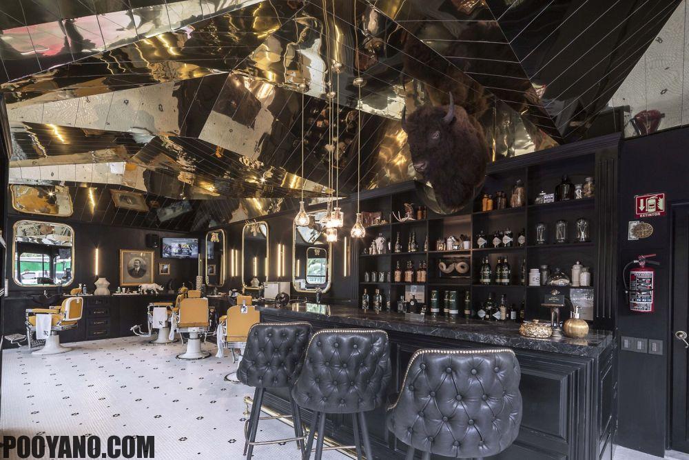 دکوراسیون آرایشگاه مردانه پویانو معماری دکوراسیون داخلی