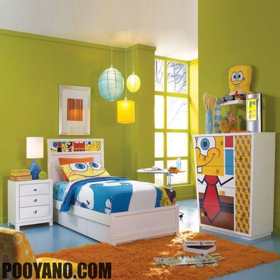 طراحی اتاق خواب کودک با تم باب اسفنجی