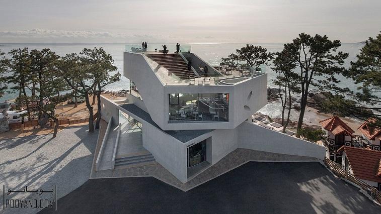 طراحی کافه با بلوک بتنی ؛ منظره تماشایی دریا از کافه ساخته شده با بلوک های بتنی در کره جنوبی