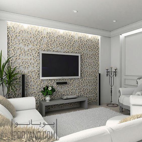 رنگ کناف تلویزیون مدل کاغذ دیواری پشت تلویزیون در دکوراسیون داخلی   انواع ...