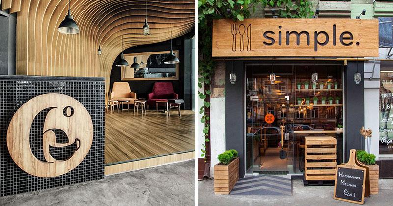 طراحی تابلو های چوبی مدرن در طراحی نما مغازه تجاری و دکوراسیون