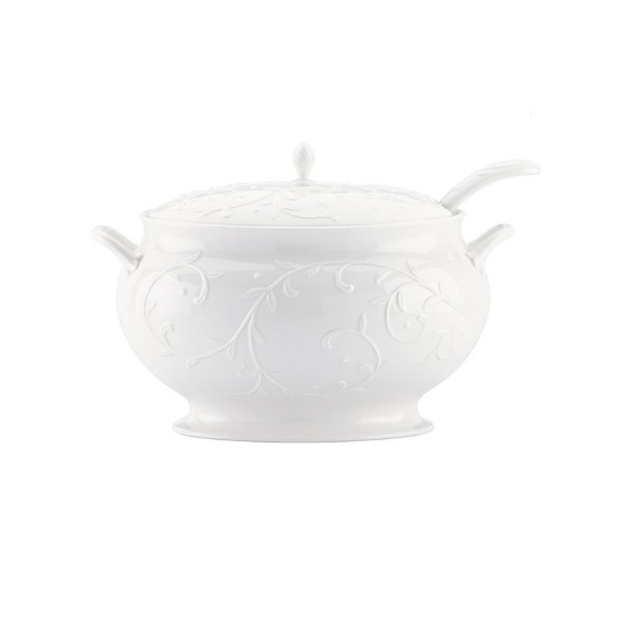 ظرف سوپ خوری طرح برجسته سفید Lenox