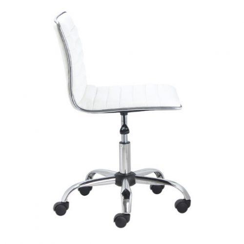صندلی کارمند بدون دسته سفید چرمی