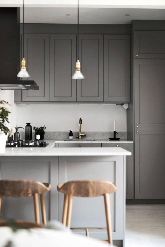 روش های دکوراسیون کردن آشپزخانه با رنگ طوسی و تنالیته های آن با پویانو