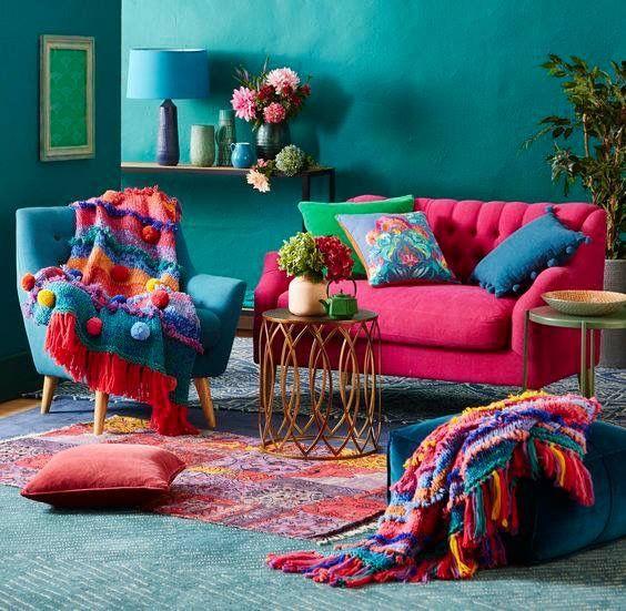 اتاق پذیرایی شاد و رنگی