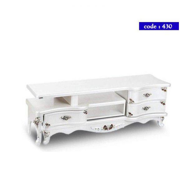 میز تلویزیون مدرن چوب کد 430 رنگ صدفی