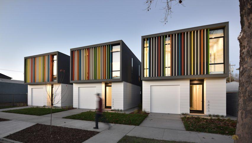 نمای مجموعه مسکونی با حائلهای رنگی