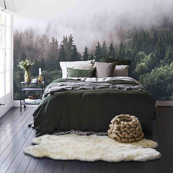ایجاد فضای آرامش بخش با کاغذ دیواری طرح منظره