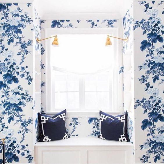 طرح های گل دار و رنگ آبی