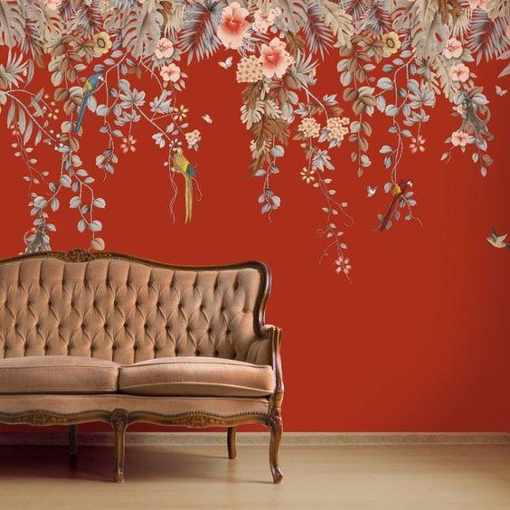 استفاده از کاغذ دیواری برای ایجاد تغییرات قابل توجه در اتاق نشیمن