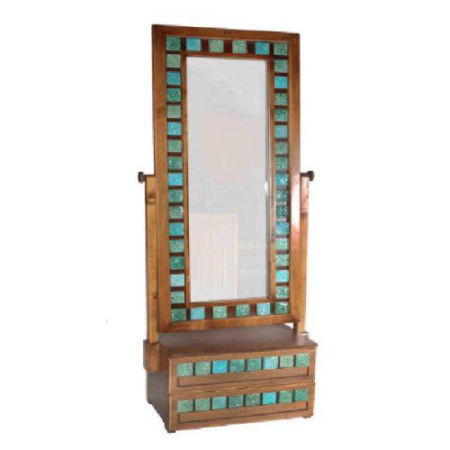 آینه ایستاده چوبی آسوریک طرح فیروزه دو کشو مدل AY-20-054