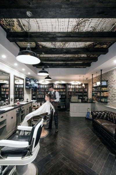 طراحی دیوارها در دکوراسیون داخلی آرایشگاه مردانه