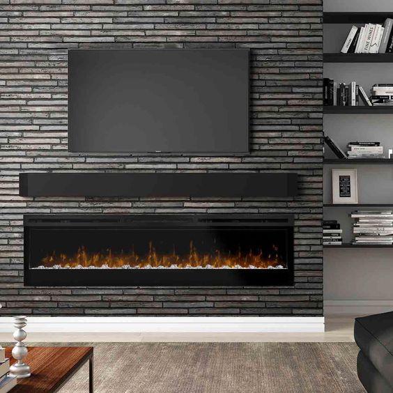 دیوار سیاه رنگ در پشت تلویزیون