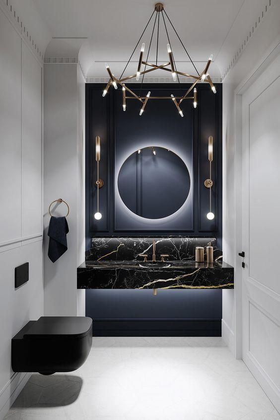 استفاده از رنگ سیاه در طراحی داخلی در سرویس بهداشتی