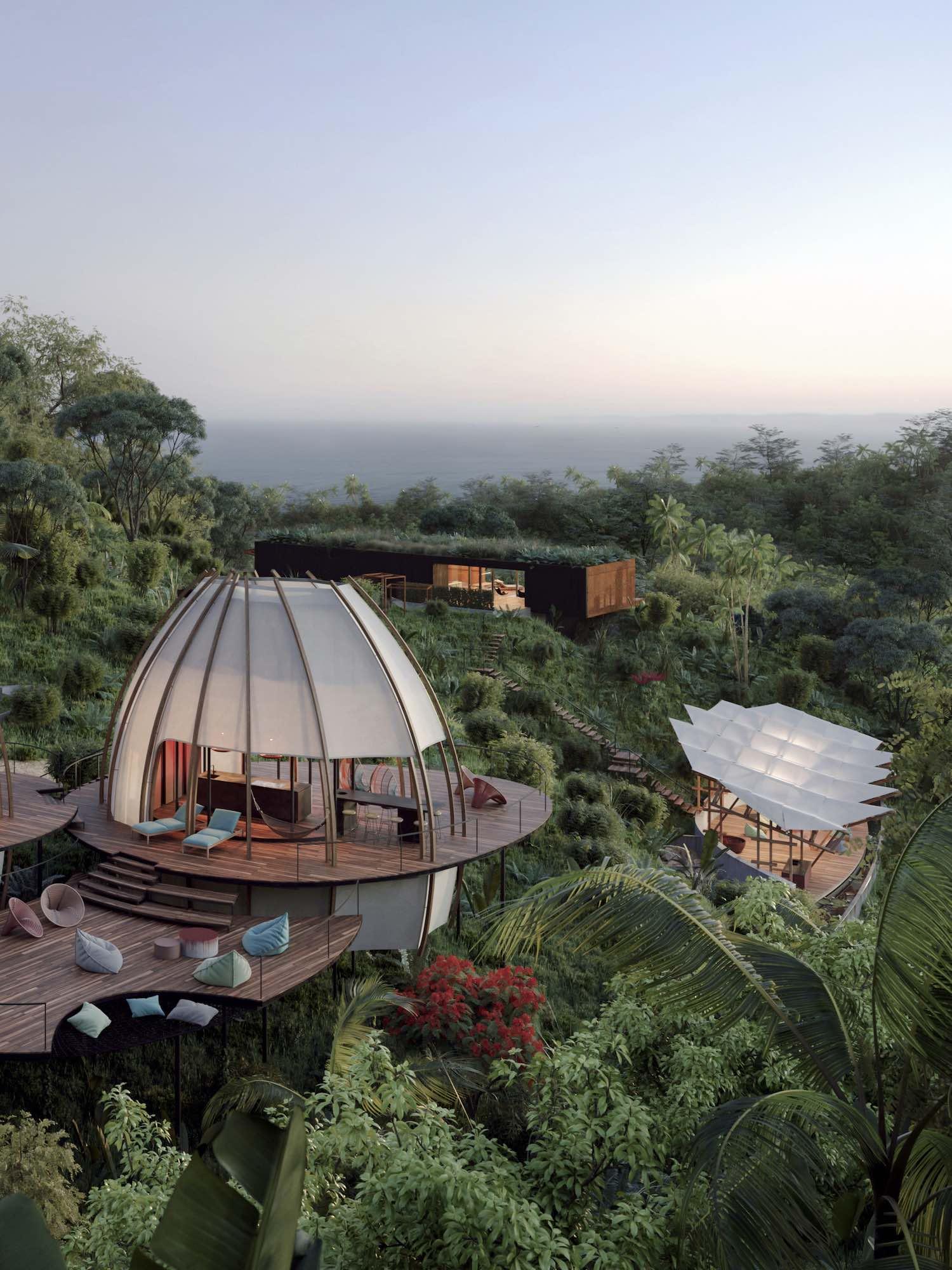 اقامتگاه های بخش Coco به شکل آشیانه های لوکس طراحی شده اند