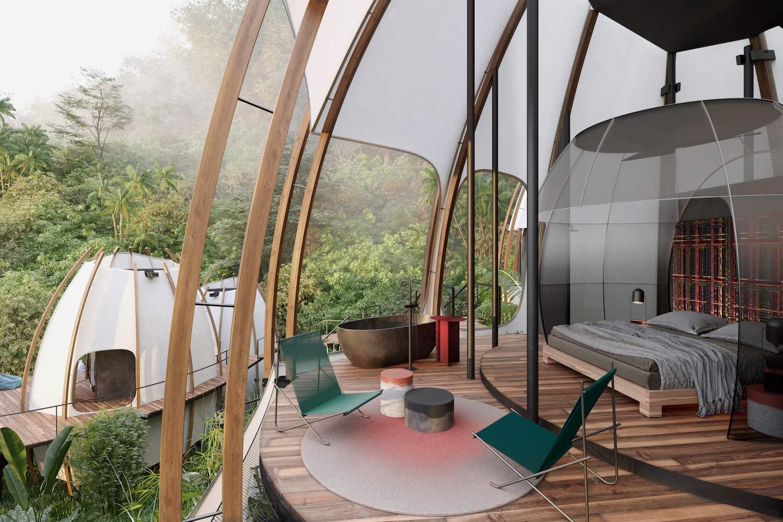 در طراحی داخلی این بخش، قسمت پشت تخت خواب را می بینیم که با طناب های در هم بافته تزئین شده است