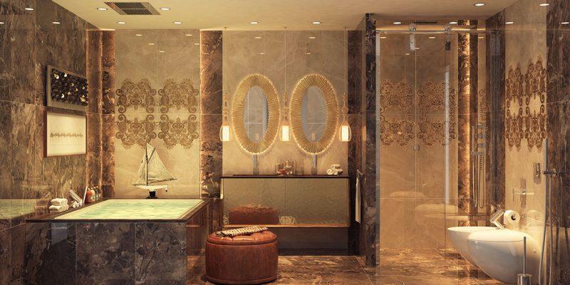 طراحی داخلی حمام لوکس با ۵ اصل مهم