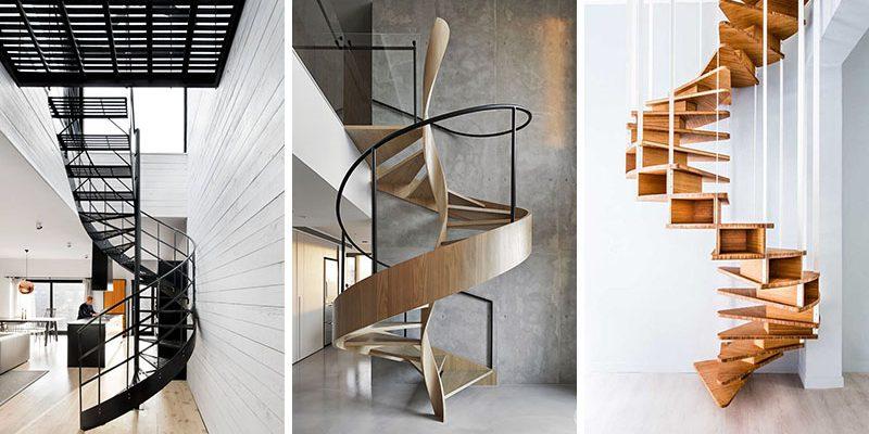 ۱۶ طراحی پلکان اسپیرال یا پلکان مارپیچی مدرن در فضای خانه از سراسر جهان