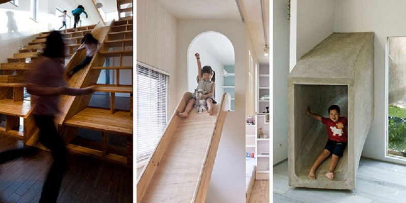 ۹ نمونه اجرای سرسره داخل منزل ، به عنوان راهی جالب برای رفت و آمد بین فضاها
