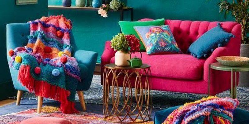 اتاق نشیمن شاد و رنگی با ایده های ساده طراحی دکوراسیون داخلی