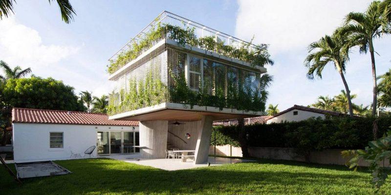طراحی سازه الحاقی کنار خانه ییلاقی در مسیر حرکت خورشید ، میامی