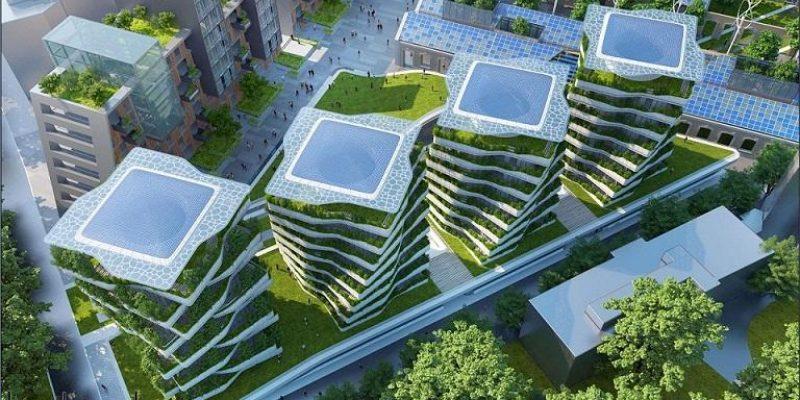 طرح پیشنهادی شهر پایدار خودکفا در طرح جامعه شهری توسط شرکت معماری Città della Scienza