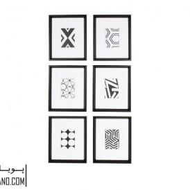 تابلو گرافیکی سیاه و سفید ۶ تایی