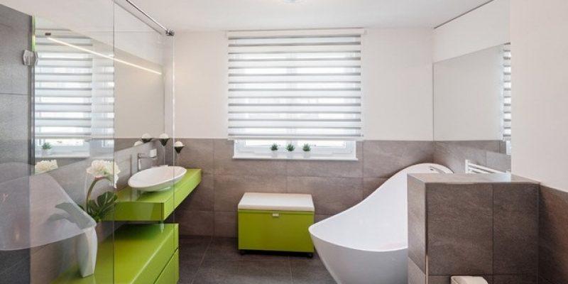 طراحی دکوراسیون داخلی بهاری با رنگ سبز در حمام